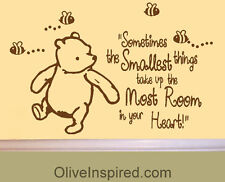 LARGE Classic Winnie the Pooh Saying Smallest Things Vinyl Wall Decal Art Mural