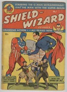 Shield-Wizard #1 summer 1940 G/VG Origin stories