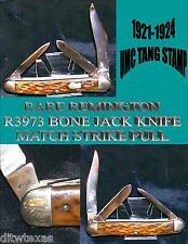 "Remington Jack Knife Bone R3973 1920's 3.5/8"" Match Strike Pull On Main Blade"