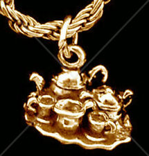 LOOK Dining China Tea cups Party Coffee Set Pot 24k Gold plated Charm Pendant Je