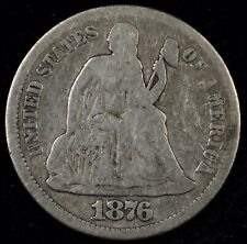 5 & 10¢ NIGHT! NICE DETAILS 1876-CC SEATED LIBERTY DIME. CARSON CITY! NO RESERVE