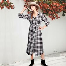 Womens Long Sleeve Button Down Shirt Dress Plaid Check Casual Belted Blouse Tops