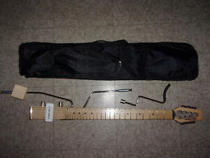 RARE Ministar Rokstar Travel Electric Guitar 3 body posts single pickup gig bag