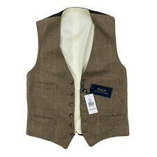 ⭐ Polo Ralph Lauren 100% Tweed/Lana Chaleco, marrón tamaño (UK 38) RRP £ 345