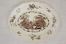 """15"""" Oval Serving Platter Mason's Watteau-Mulberry White Ironstone China England"""
