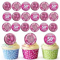 24 Pre-Cut Happy 50th Birthday Edible Cupcake Toppers Decorations For Ladies