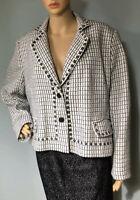 Klass Womens Tailored Jacket Pockets Lined Black & White U.K. Size 20 BNWOT
