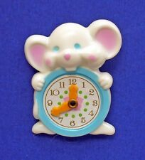 BUY1&GET1@50%~Avon PIN MOUSE MINUTE White Movement CLOCK Vtg 1974 Brooch