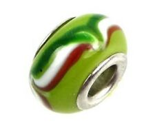 Lampwork Handmade Bead Big Hole Fit Bracelet Charm Green Red White Wavy