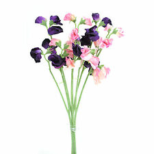Artificial silk Sweetpea pink & purple stems Sweet Pea flowers 16 inches