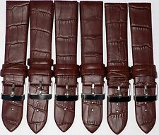 Lot of 6Pcs Watch Bands Brown Genuine Leather Alligator Grain Flat 20mm