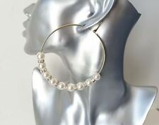 Crystal Mixed Metals Hoop Omega back Costume Earrings
