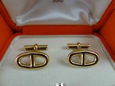 Authentic Hermes AU750 GOLD Cufflinks 'Marine'