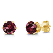 2.00 Ct 6mm Red Rhodolite Garnet Brass Yellow Gold Plated Brass Stud Earrings