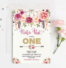 Boho First 1st Birthday Invitation Gold Burgundy Floral Confetti Party Invite