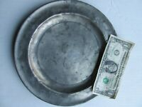 """Early Antique 10"""" Antique Reed & Barton Pewter Plate, c.1840, Nice Early Repair"""