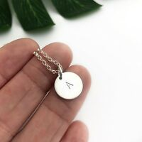 HANDMADE PERSONALISED STERLING SILVER INITIAL DISC NECKLACE 925 BOHO HANDSTAMPED