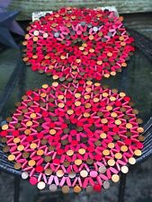 2-Vintage MCM Boho Crimson And Bronze Wooden Beaded Trivet/ Placemat