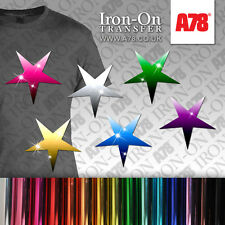 IRON-ON Metallic Foil Stars TRANSFER Motif T-Shirt Sticker for Craft Bling