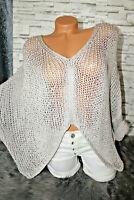 Italy Pulli Pullover Gr. 36 38 40 42 Vintage grau Oversized blogger edel NEU