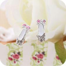 1 Pair Ballet Shoes Pink Crystal Full Rhinestone Stud Earrings Jewelry UK