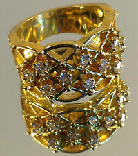 "Beautiful ""Lattice Design"" Ladies Gold Ring, Nine small Swarovski stones, NEW"