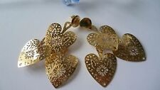 STUNNING GOLD PLATED OVER SOLID 925 STERLING SILVER HEART EARRINGS MADE IN ITALY