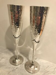 Vintage 2 Hammered Silver-plated Champagne Toasting Flutes Wedding Glasses W Box