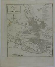 STOCKHOLM 1786 SWEDEN SVERIGE STOCKHOLMKART COPPER ENGRAVING MAP WILLIAM COXE