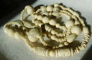 "Carved Bead Necklace Assorted Size Beads Off White About 52"" L, Gold Color In B"