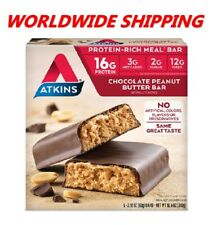 Atkins Chocolate Peanut Butter Protein Rich Meal Bar 10.6 Oz 5 Ct WORLD SHIPPING