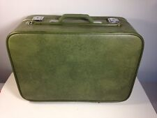 Vintage Green Suitcase - With Rollers!!!   With Keys!!'- Classic Travel Luggage
