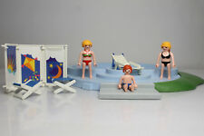 Playmobil 3205 piscina pool summer niños bikini bañistas familia figura beach