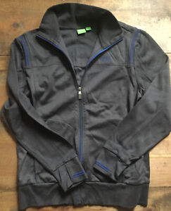 New HUGO BOSS Mens Track Jacket-Dark Gray-Blue Accent-Medium-Long Sleeve-