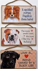 """Dog and Cat Signs 5"""" x 10"""" Usa Handmade Designed, Country, Brown, Being Owned"""