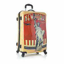 "Heys Vintage Traveler 30"" New York NYC Suitcase Hardcase Spinner Expandable TSA"