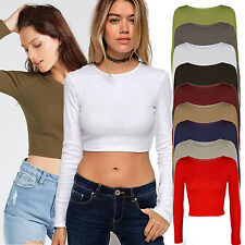 WOMENS LADIES LONG SLEEVE CROP TOP SHORT TSHIRT ROUND NECK JERSEY STYLE 8 - 14