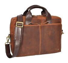 Genuine Leather Briefcase Cross Body Work Bag Vintage Organiser Satchel Tan