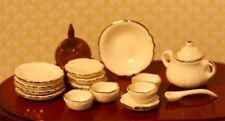 Dollhouse Miniature 1:12 Scale Dinner Soup Set in White Trimmed in Gold