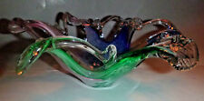 Murano Glassware Crystal Clear Art Glass Bowl Made in Italy Pink, Blue & Green