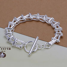 NEW 925 Sterling Silver Plated Fashion  Ladder Chain Bracelet
