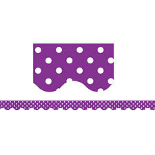 Purple Polka Dots Scalloped Border Trim Teacher Created Resources Tcr5499