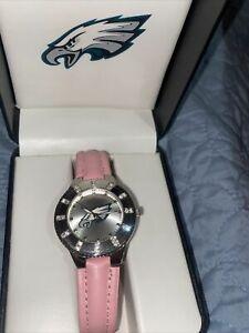 Philadelphia Eagles Women's NFL Watch w/ Pink Leather Band w/ Rhinestones NEW