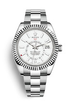 Rolex Sky Dweller Stainless Steel White Face White Gold Fluted Bezel 42mm 326934