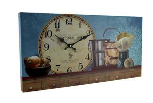 Zeckos Beach Themed Decorative Wood Wall Clock (Blue)