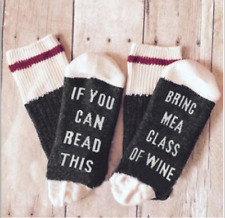 Unisex Wine Socks If You Can Read This Bring Me a Glass of Gray Pink Women Sock