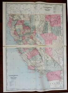 California Nevada large 2 sheet map San Francisco Los Angeles 1894 Walker map