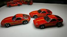 Set Of 3 - Hot Wheels blackwall vintage Porsche P-928 Turbo Red Hong Kong cars