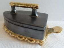 Ceramic Flat Iron Box Unusual Hand Made & Painted Charcoal Black & Gold