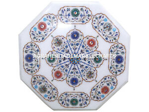 """12"""" Marble Side Coffee Table Marquetry Inlay Pietra Dura Bedroom Decor H3018"""